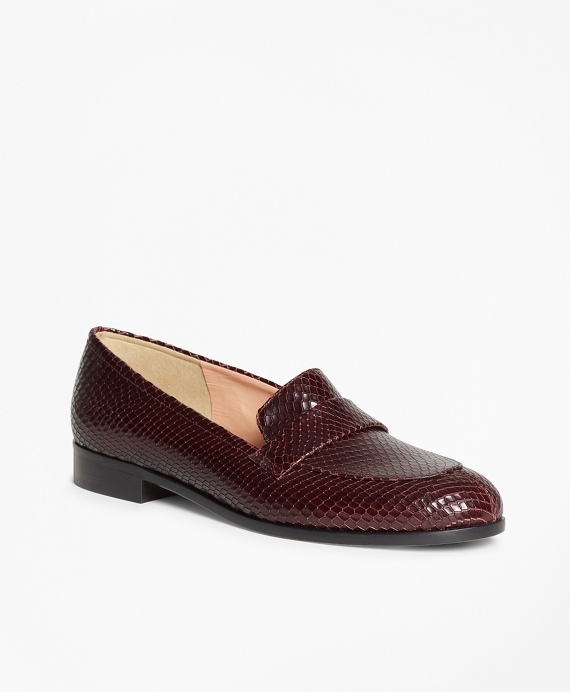 Reptile-Embossed Leather Loafers Burgundy