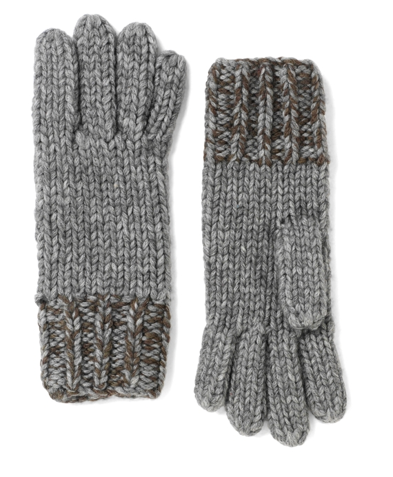 Marled Wool and Alpaca Gloves Grey-Olive