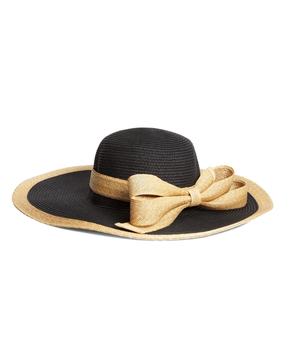 Milan Straw Portrait Hat Black-Natural