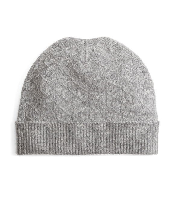 Cashmere Cable Knit Hat Grey