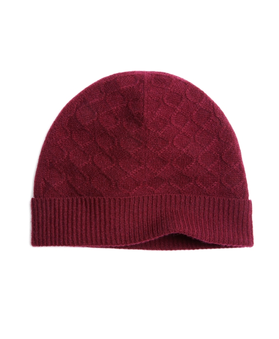 Cashmere Cable Knit Hat Wine