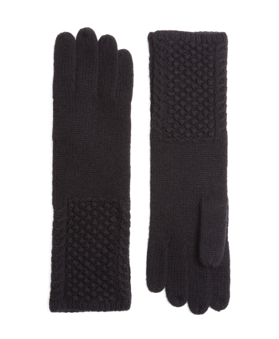 Cable Knit Cashmere and Wool Gloves Black
