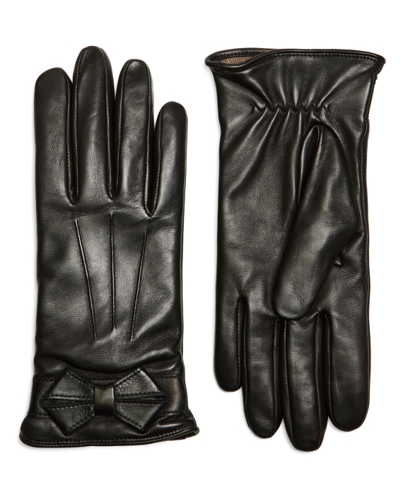 Lambskin Bow Gloves with SensorTouch Black