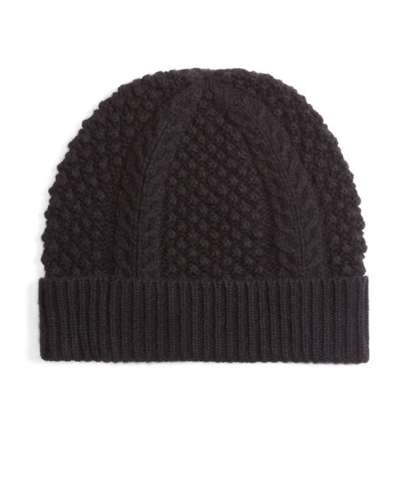 Cashmere and Wool Cable Knit Hat Black