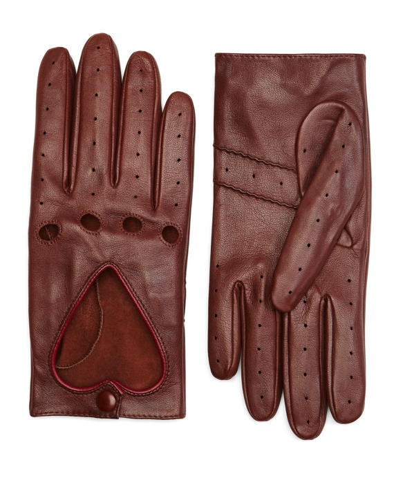 Leather Heart Driving Gloves Cognac