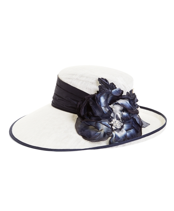 Floral Topper Straw Hat Natural-Navy