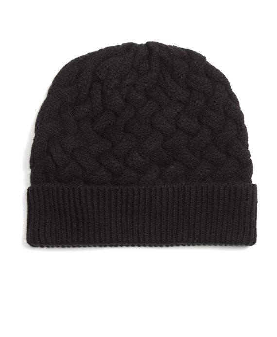 Wool Cable Knit Hat Black