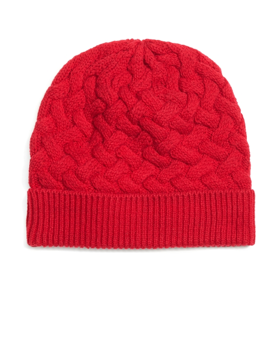 Wool Cable Knit Hat Red