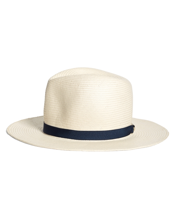 Foldable Straw Fedora White-Navy