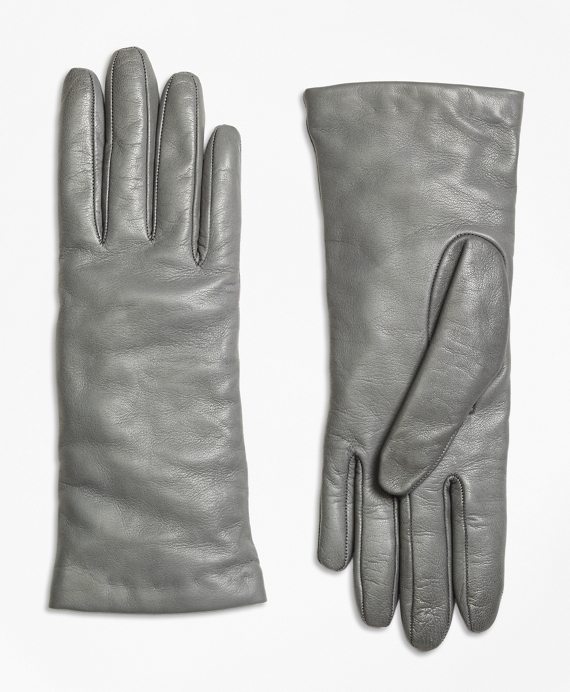 Cashmere Lined Leather Gloves Grey