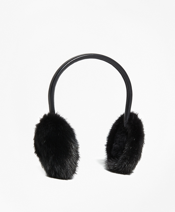 Leather Banded Mink Earmuffs Black