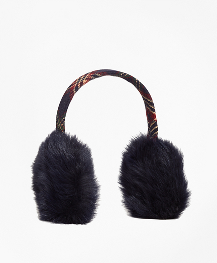 Wool and Shearling Tartan Earmuffs