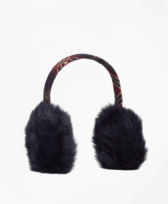 Wool and Shearling Tartan Earmuffs Navy