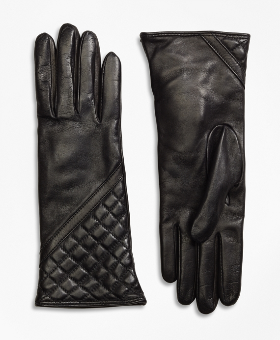 Cashmere Lined Quilted Leather Gloves