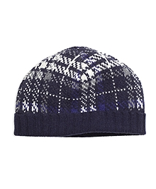 Wool Plaid Cable Knit Hat