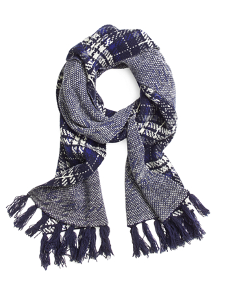 Wool Plaid Cable Knit Scarf