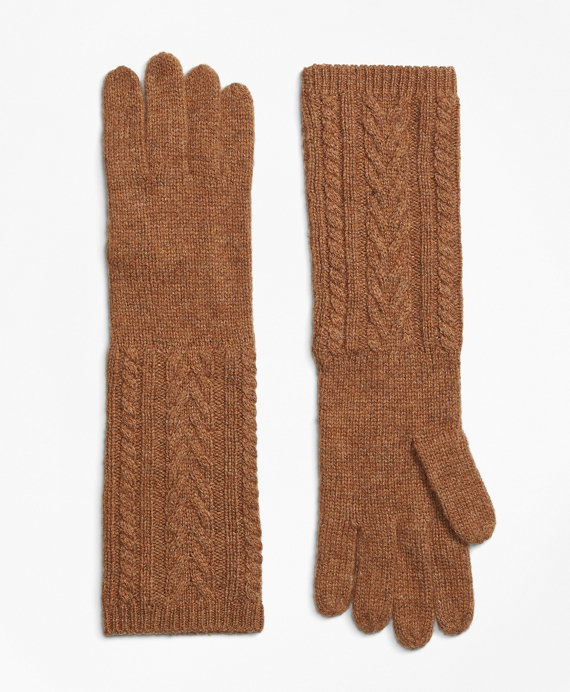 Camelhair Cable Knit Opera Gloves