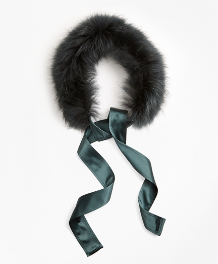 Raccoon Fur Collar with Silk Crepe Ribbon Tie