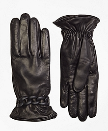 Leather Gloves with Chain Detail