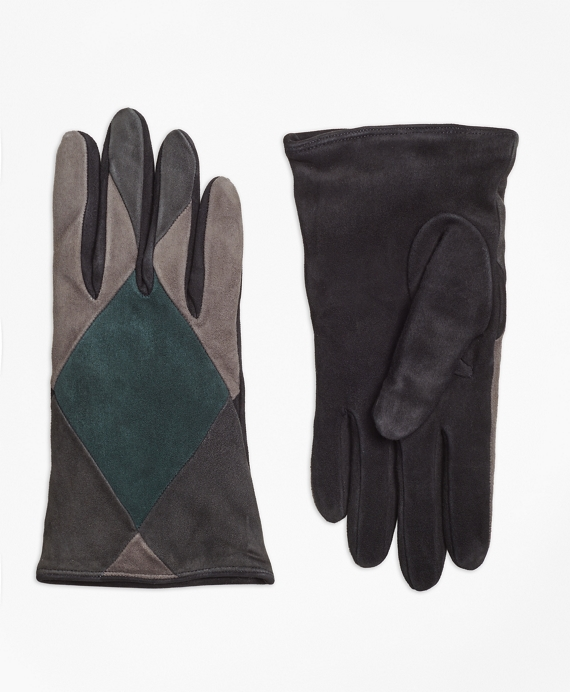 Color-Block Suede Gloves Black-Grey