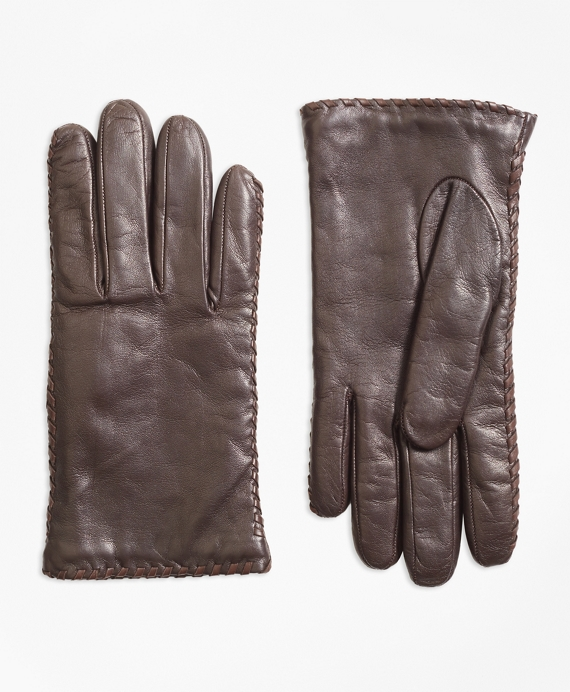 Whipstitched Cashmere-Lined Leather Gloves