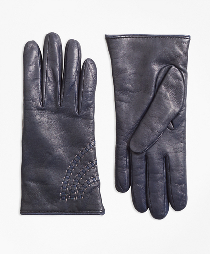 Topstitched Cashmere-Lined Leather Gloves