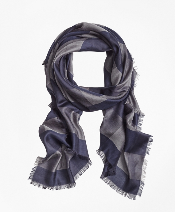 Buffalo-Check Oversized Square Scarf Navy
