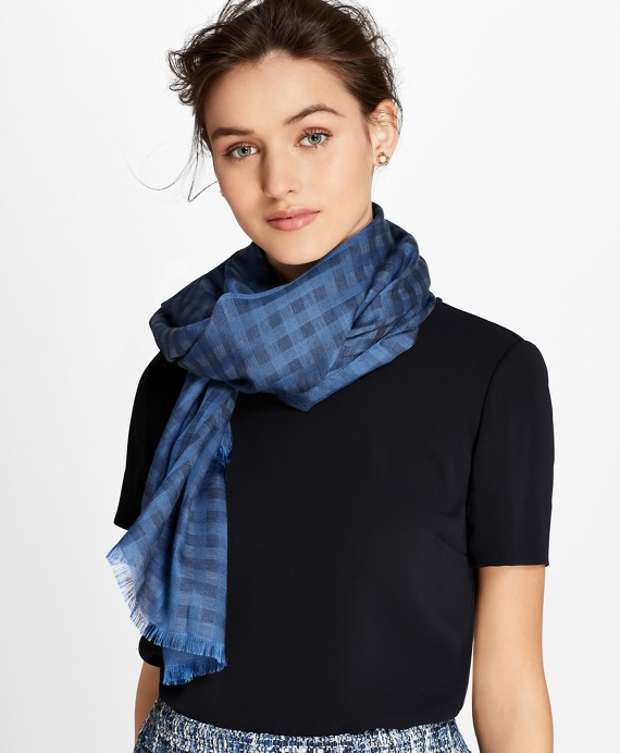 Gingham Cotton-Silk Oblong Scarf
