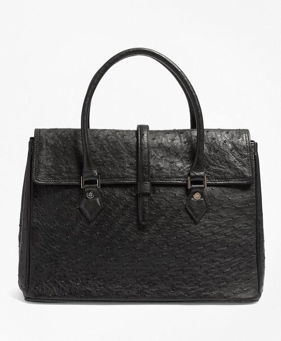 Ostrich Large Satchel Black