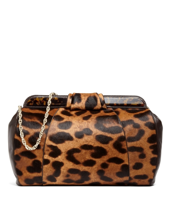 Leopard Haircalf Large Clutch Brown Multi