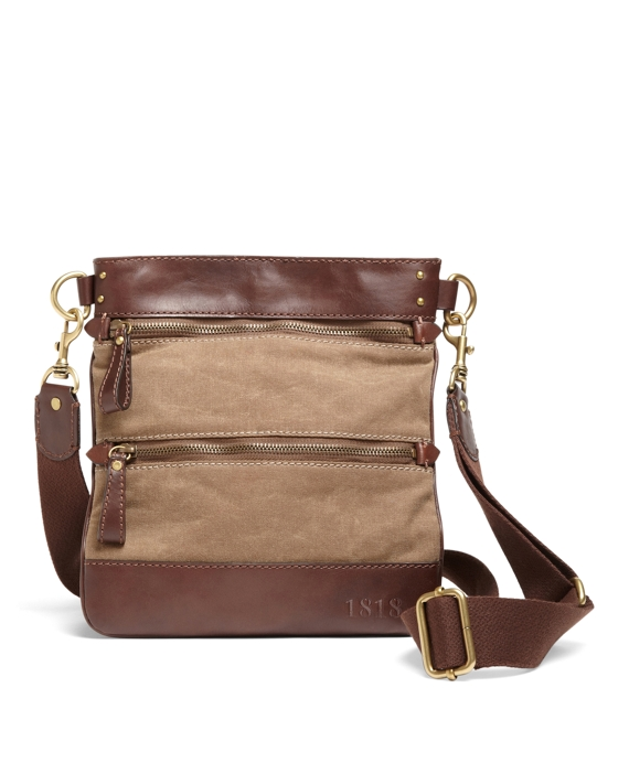 Waxed Cotton Canvas Crossbody Bag Tan