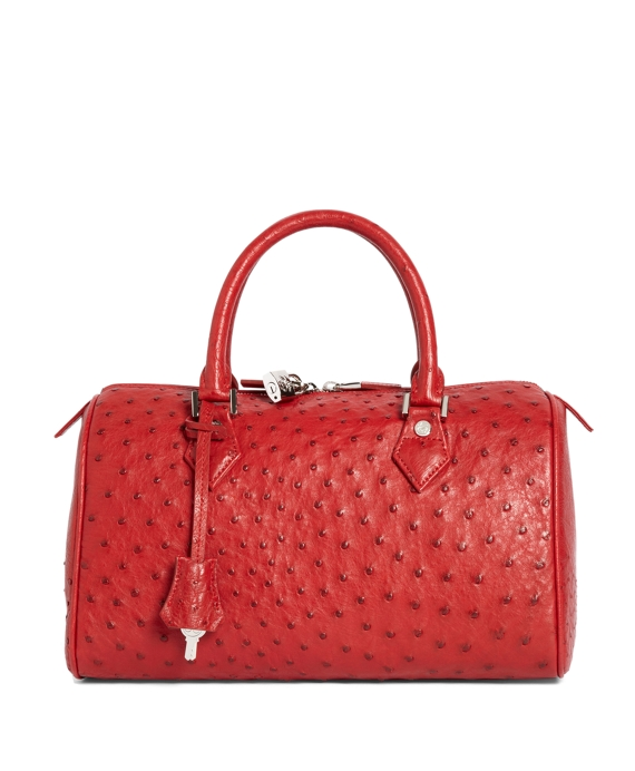 Ostrich Barrel Bag Red