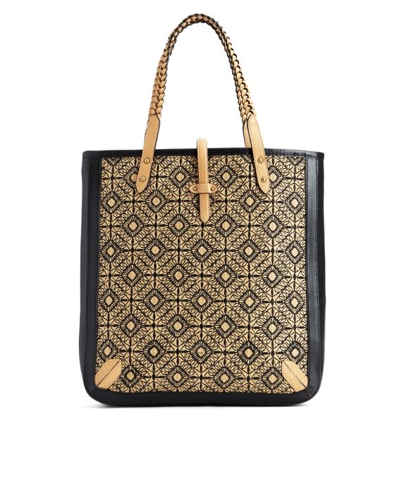 Large Embroidered Straw Tote Black-Tan