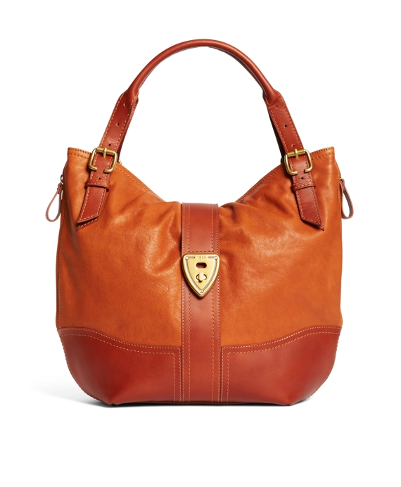 Shrunken Leather Large Hobo Bag Cognac