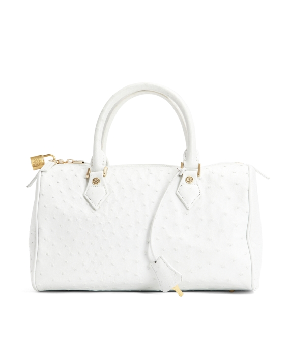 Ostrich Barrel Bag White