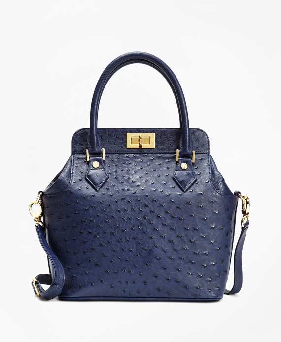 Ostrich Top Handle Satchel Navy