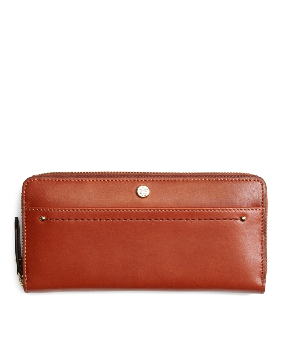Calfskin Full-Zip Wallet Cognac