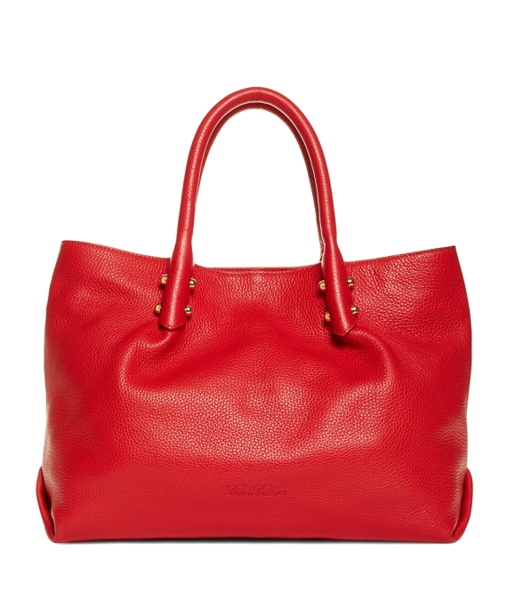 Pebbled Calfskin Medium Tote Red