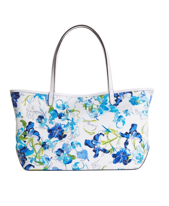 Canvas Floral Tote Blue-White