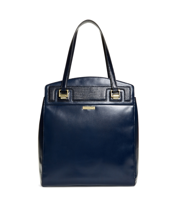 Exotic Embossed Calfskin Large Tote Navy