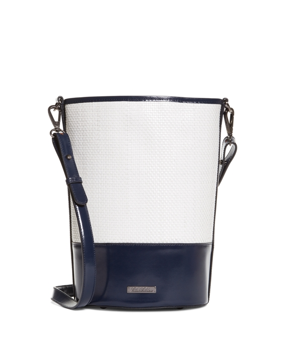 Calfskin Bucket Bag White-Navy
