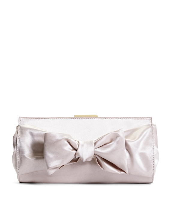 Satin Bow Clutch Champagne
