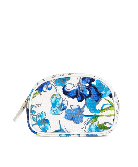 Floral Canvas Cosmetic Case Blue-White