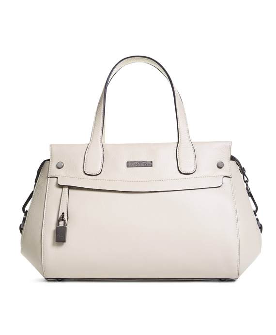 Tumbled Calfskin Large Satchel Ivory