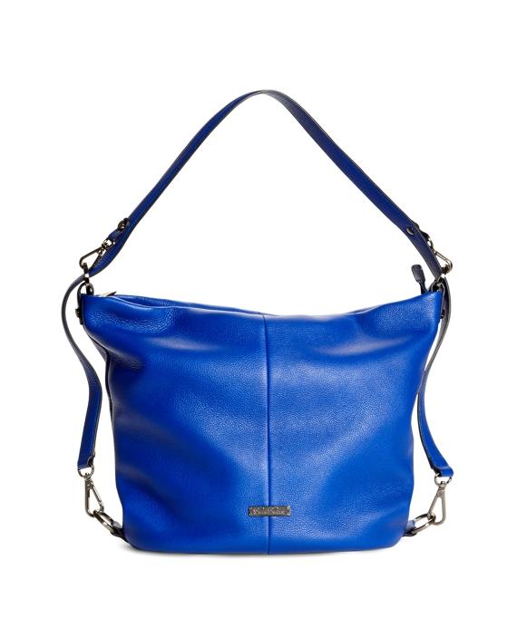 Tumbled Calfskin Large Bucket Bag Blue