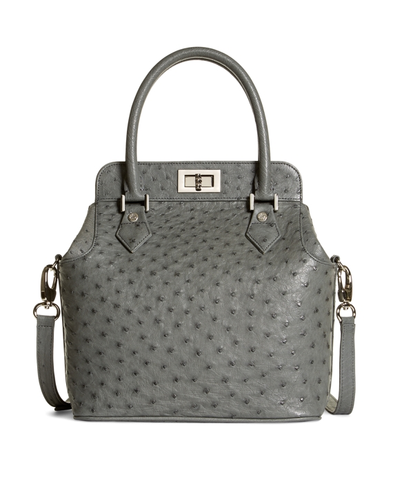 Ostrich Top Handle Satchel Grey