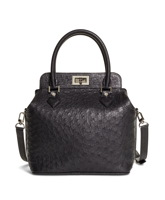 Ostrich Top Handle Satchel Black