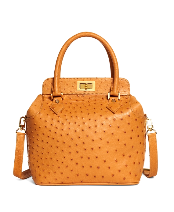 Ostrich Top Handle Satchel Chestnut