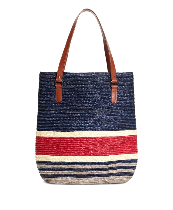 Straw Magnetic Closure Tote Navy-Red-White