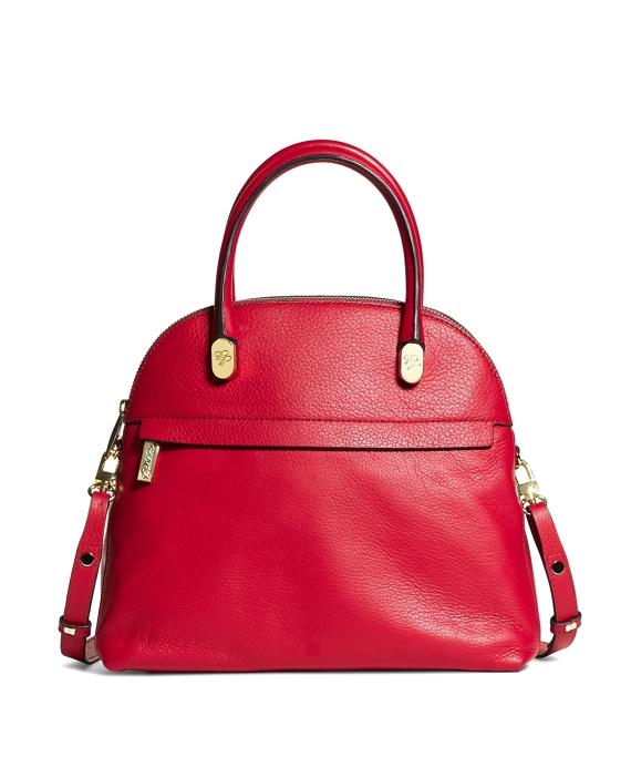 Medium Pebble Calfskin Dome Satchel Dark Pink